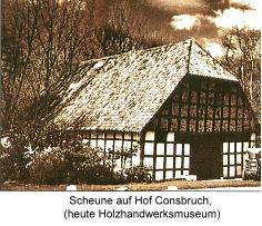 Historisches Bild einer Scheune vom Haus Hiddenhausen - heute das Holzhandwerksmuseum