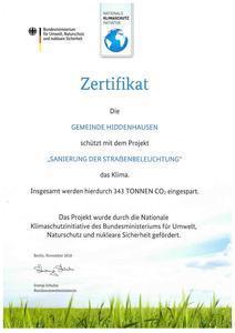 Zertifikat Sanierung der Straßenbeleuchtung